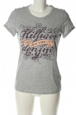 Hilfiger Denim T-Shirt hellgrau-lila meliert Casual-Look