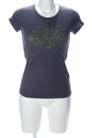 Hilfiger Denim T-Shirt blau-grün Schriftzug gedruckt Casual-Look