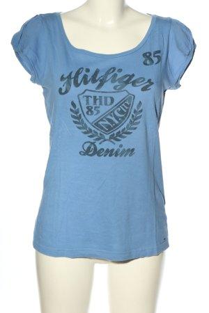 Hilfiger Denim T-Shirt blau Schriftzug gedruckt Casual-Look