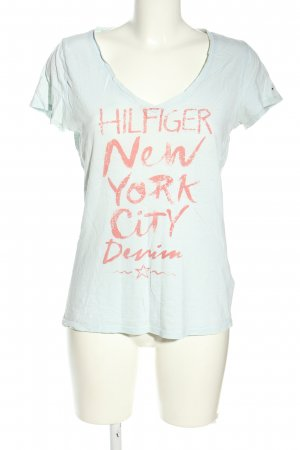 Hilfiger Denim T-Shirt blau-pink Schriftzug gedruckt Casual-Look
