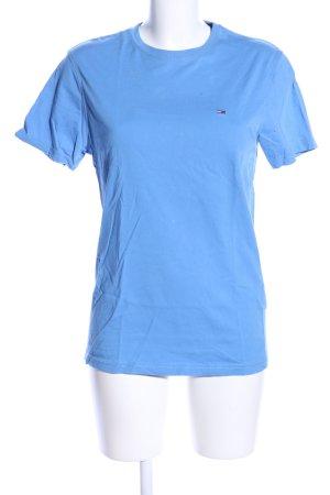 Hilfiger Denim T-Shirt blau Schriftzug gestickt Casual-Look
