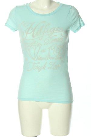 Hilfiger Denim T-Shirt türkis-creme Motivdruck Casual-Look