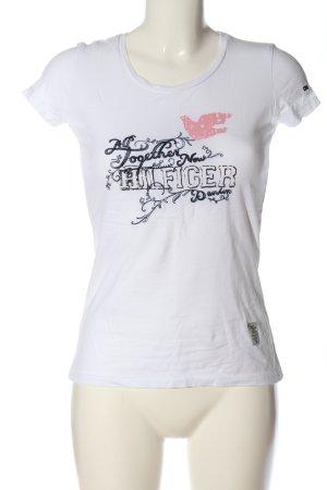 Hilfiger Denim T-Shirt weiß-schwarz Schriftzug gedruckt Casual-Look