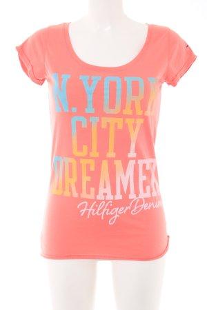 Hilfiger Denim T-Shirt hellorange-blau Schriftzug gedruckt Casual-Look