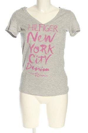 Hilfiger Denim T-shirt gris clair-rose moucheté style décontracté