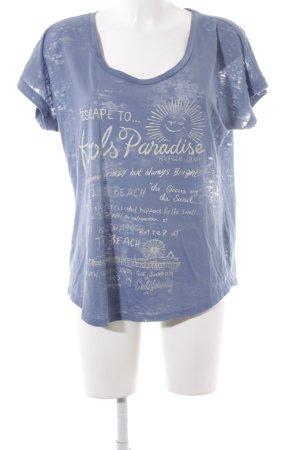Hilfiger Denim T-Shirt stahlblau-creme Motivdruck Casual-Look