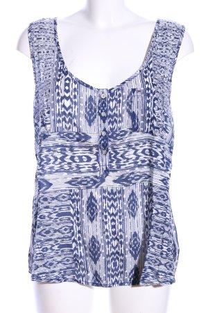 Hilfiger Denim Tanktop weiß-blau abstraktes Muster Casual-Look