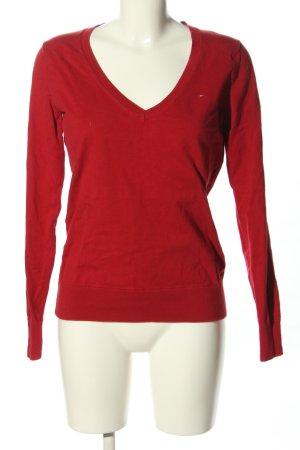 Hilfiger Denim V-Ausschnitt-Pullover rot Zopfmuster Casual-Look