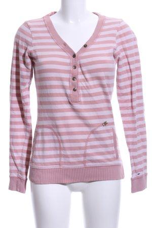 Hilfiger Denim V-Ausschnitt-Pullover pink-weiß Streifenmuster Casual-Look