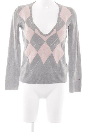 Hilfiger Denim V-Ausschnitt-Pullover hellgrau-rosé Karomuster Logostickerei