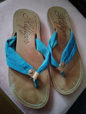 Hilfiger Sport Flip-Flop Sandals cognac-coloured-neon blue