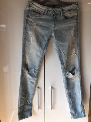 Hilfiger Denim Pantalon cinq poches bleu clair-blanc