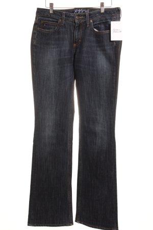 Hilfiger Jeansschlaghose dunkelblau Logo-Applikation aus Leder