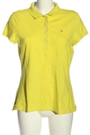 Hilfiger Polo-Shirt blassgelb Schriftzug gestickt Casual-Look