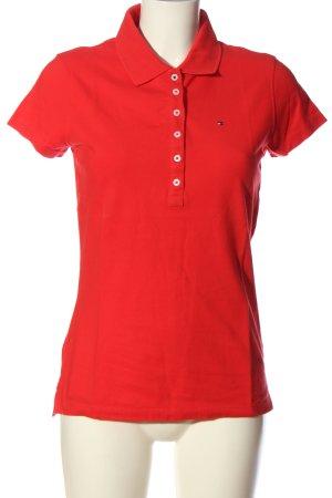 Hilfiger Polo-Shirt rot Schriftzug gestickt Casual-Look