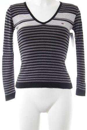 Hilfiger Sport V-Ausschnitt-Pullover schwarz-grau sportlicher Stil