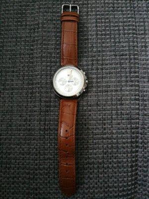Hilfiger Horloge met lederen riempje zilver-bruin