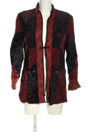 Himalaya Long-Blazer schwarz-rot abstraktes Muster Casual-Look
