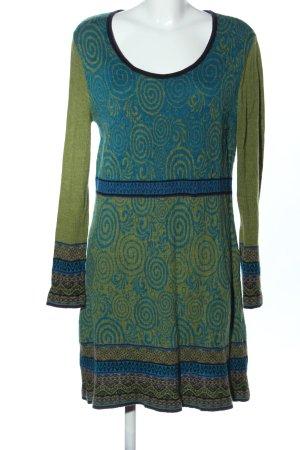 Himalaya Vestito di lana cachi-blu motivo astratto stile casual