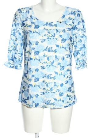 Himmelblau by Lola Paltinger Kurzarm-Bluse blau-weiß Allover-Druck Casual-Look