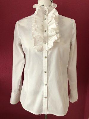 Himmelblau by Lola Paltinger Bluzka z falbankami biały Bawełna