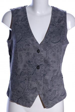 Himmelblau Jeansweste hellgrau abstraktes Muster Casual-Look