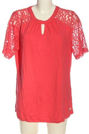 Himmelblau Kurzarm-Bluse rot Casual-Look
