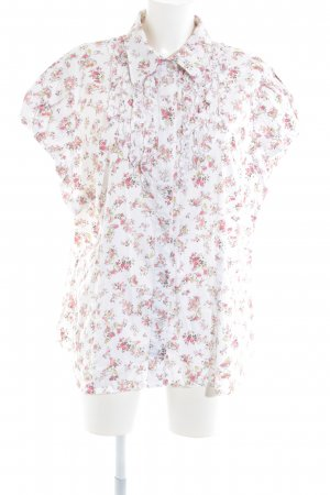 Himmelblau Kurzarm-Bluse florales Muster Casual-Look