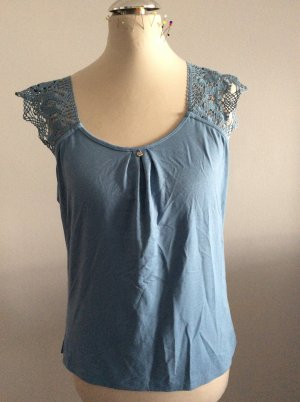 Himmelblau by Lola Paltinger Top a uncinetto azzurro