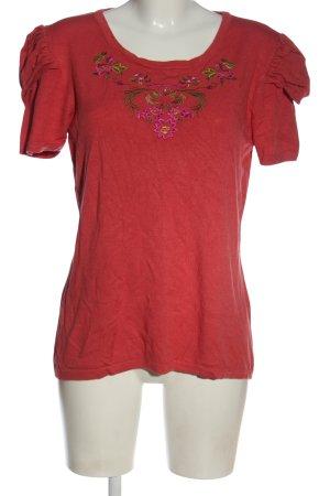 Himmelblau T-shirts en mailles tricotées rouge motif de fleur
