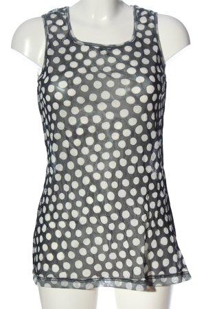 Hindahl & Skudelny Tanktop czarny-w kolorze białej wełny Wzór w kropki
