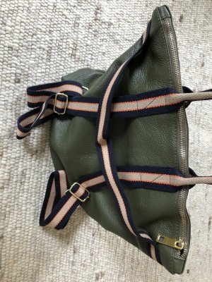 Börse in Pelle Laptop Backpack olive green leather