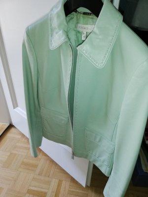 Hingucker! Escada Lammnappa Sommer Lederjacke mintgrün. Gr 38 Tolle Applikationen