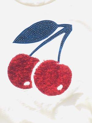 Hingucker-Shirt mit Kirschmotiv Pailletten, Kristall-Applikationen