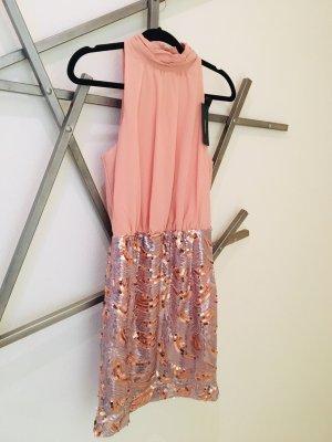 Hinreißendes Cocktail Kleid in Rosé Gold Silber