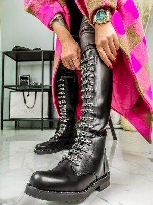 Hippe Biker Stiefel mit Ketten schwarz silber Blogger vegan Gr. 39