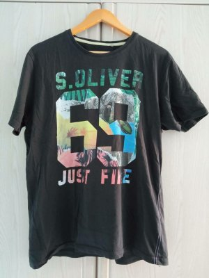 s.Oliver Print Shirt black cotton