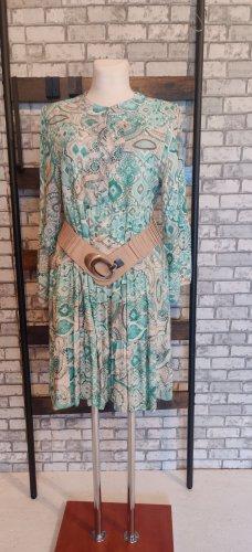 Robe bas asymétrique turquoise-beige clair