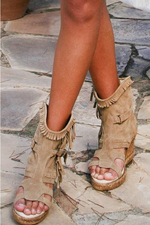 Isla Ibiza Platform High-Heeled Sandal camel-beige leather