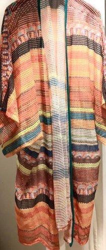 Cardigan lungo smanicato multicolore Fibra sintetica