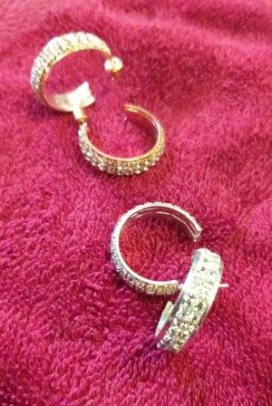 Hippie Ibiza 2 Paar neue Ohrringe 2 cm Durchmesser rosegoldfarben und silberfarben mit Glitzersteinchen