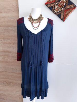 Hippie Kleid Blau Weinrot Boho Festival Ethno Casual Basic Sommer
