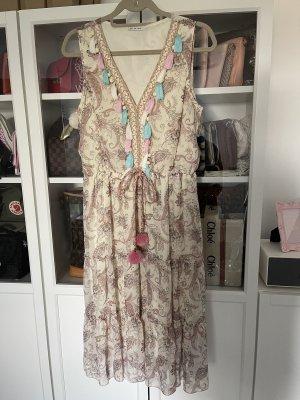 Hippie Kleid Sommerkleid Kleid Boohoo Ibiza Blumen Blumenmuster Tassel