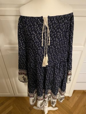 Cache & Cache Hippie Dress dark blue-natural white viscose