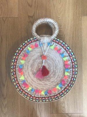 Bolso tipo cesta multicolor tejido mezclado