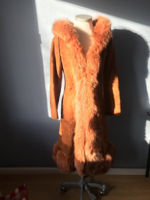 Manteau de fourrure rouille cuir