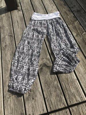 Made in Italy Pantalon large blanc-noir