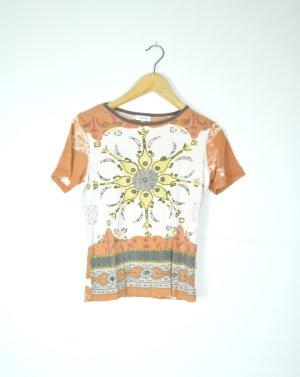 Hippie Shirt mit Sonnenblume und Perlen