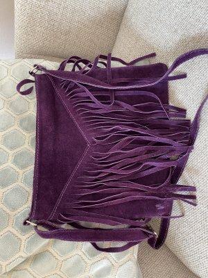Borsa con frange lilla-viola scuro