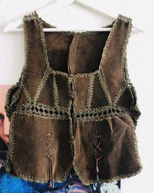 Hippie Vintage Leder Weste, M